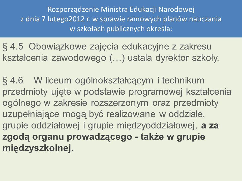 Rozporządzenie Ministra Edukacji Narodowej z dnia 7 lutego2012 r. w sprawie ramowych planów nauczania w szkołach publicznych określa: § 4.5 Obowiązkow