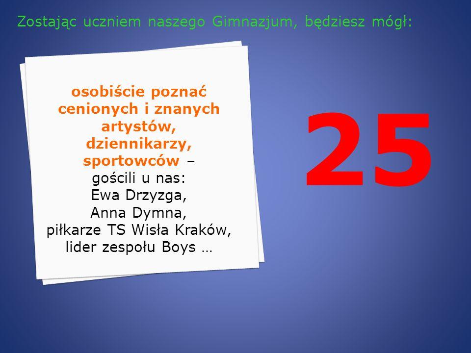 25 osobiście poznać cenionych i znanych artystów, dziennikarzy, sportowców – gościli u nas: Ewa Drzyzga, Anna Dymna, piłkarze TS Wisła Kraków, lider z