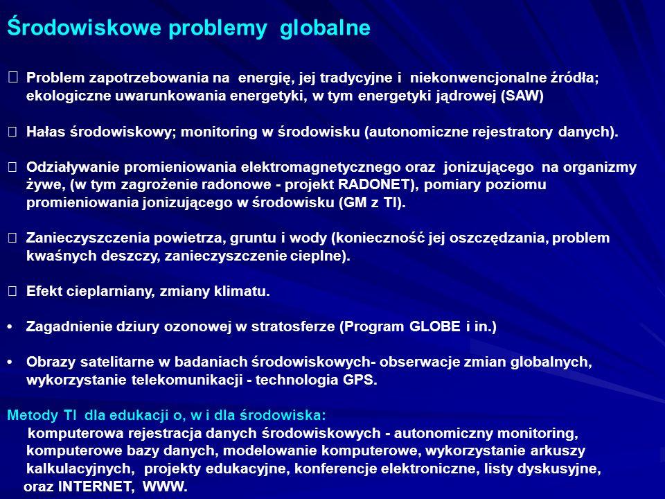 Środowiskowe problemy globalne Problem zapotrzebowania na energię, jej tradycyjne i niekonwencjonalne źródła; ekologiczne uwarunkowania energetyki, w tym energetyki jądrowej (SAW) Hałas środowiskowy; monitoring w środowisku (autonomiczne rejestratory danych).