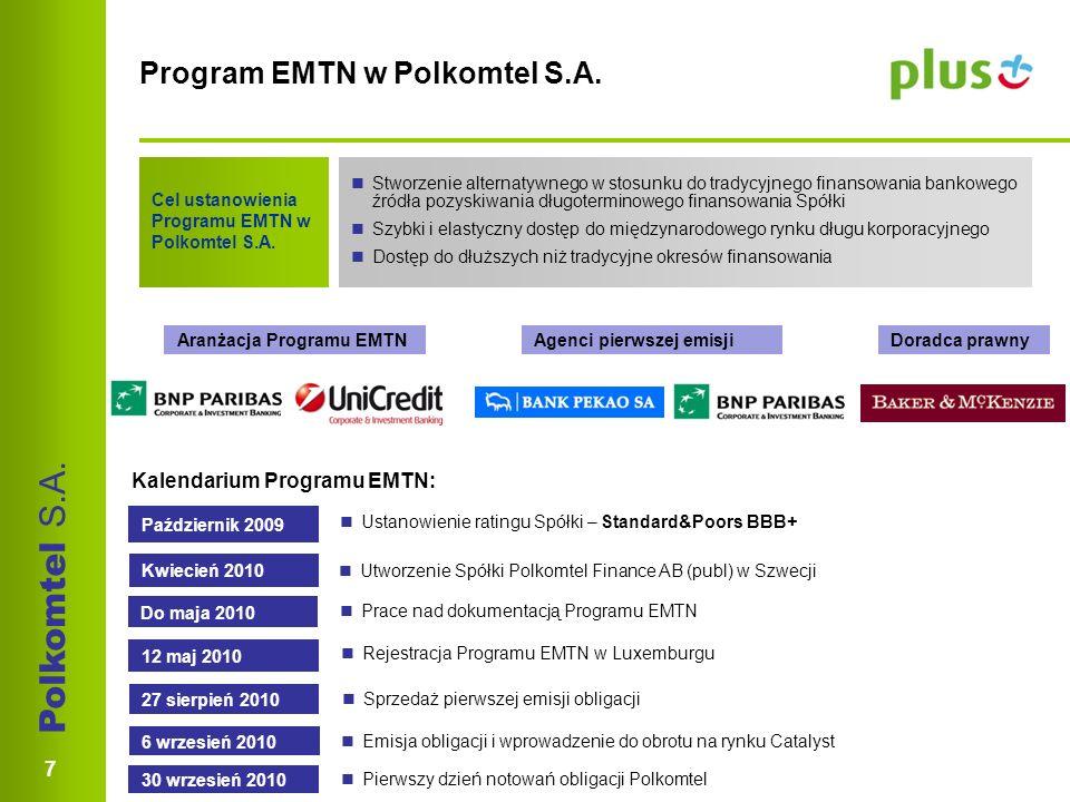 Polkomtel S.A. 7 Program EMTN w Polkomtel S.A. Cel ustanowienia Programu EMTN w Polkomtel S.A.