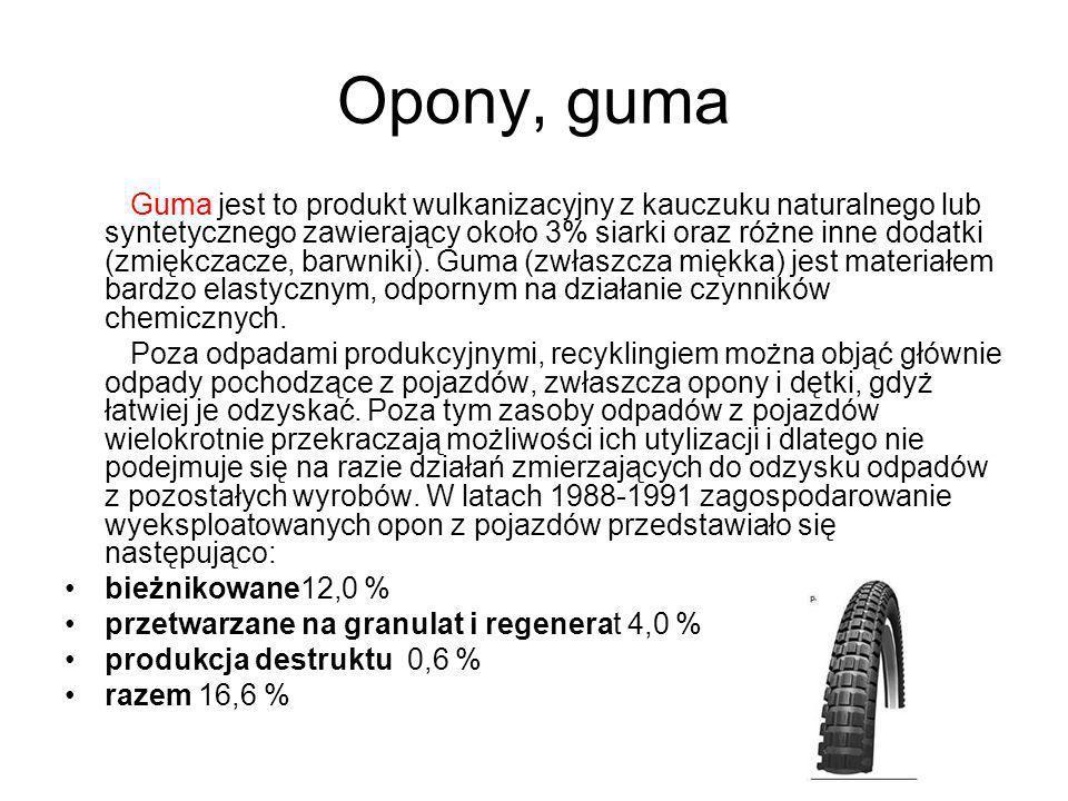 Opony, guma Guma jest to produkt wulkanizacyjny z kauczuku naturalnego lub syntetycznego zawierający około 3% siarki oraz różne inne dodatki (zmiękcza