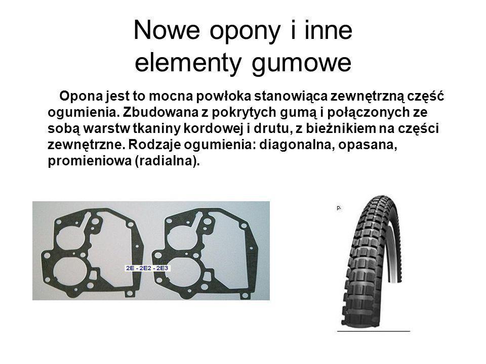 Nowe opony i inne elementy gumowe Opona jest to mocna powłoka stanowiąca zewnętrzną część ogumienia. Zbudowana z pokrytych gumą i połączonych ze sobą