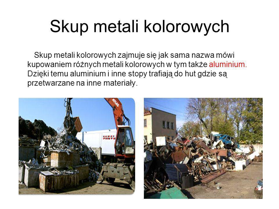 Skup metali kolorowych Skup metali kolorowych zajmuje się jak sama nazwa mówi kupowaniem różnych metali kolorowych w tym także aluminium. Dzięki temu