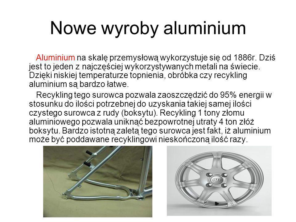 Nowe wyroby aluminium Aluminium na skalę przemysłową wykorzystuje się od 1886r. Dziś jest to jeden z najczęściej wykorzystywanych metali na świecie. D