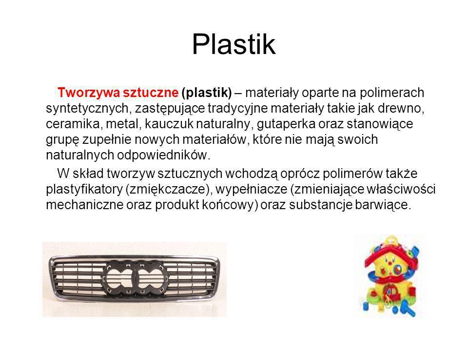 Plastik Tworzywa sztuczne (plastik) – materiały oparte na polimerach syntetycznych, zastępujące tradycyjne materiały takie jak drewno, ceramika, metal