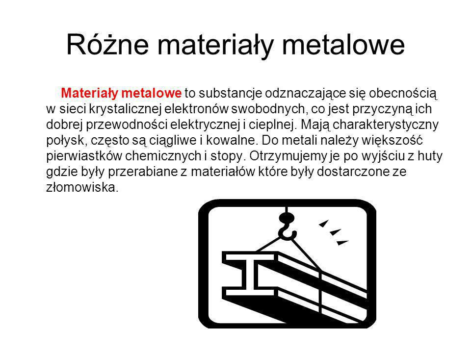 Różne materiały metalowe Materiały metalowe to substancje odznaczające się obecnością w sieci krystalicznej elektronów swobodnych, co jest przyczyną i