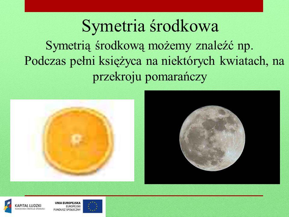 Symetria środkowa Symetrią środkową możemy znaleźć np. Podczas pełni księżyca na niektórych kwiatach, na przekroju pomarańczy