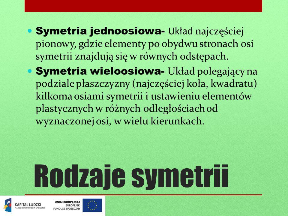 Rodzaje symetrii Symetria jednoosiowa- Układ najczęściej pionowy, gdzie elementy po obydwu stronach osi symetrii znajdują się w równych odstępach. Sym
