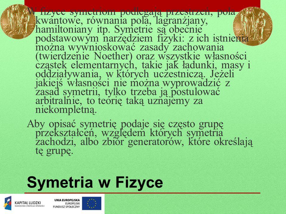 Symetria w Fizyce W fizyce symetriom podlegają przestrzeń, pola kwantowe, równania pola, lagranżjany, hamiltoniany itp. Symetrie są obecnie podstawowy