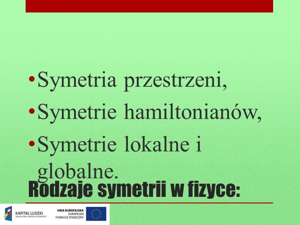 Rodzaje symetrii w fizyce: Symetria przestrzeni, Symetrie hamiltonianów, Symetrie lokalne i globalne.