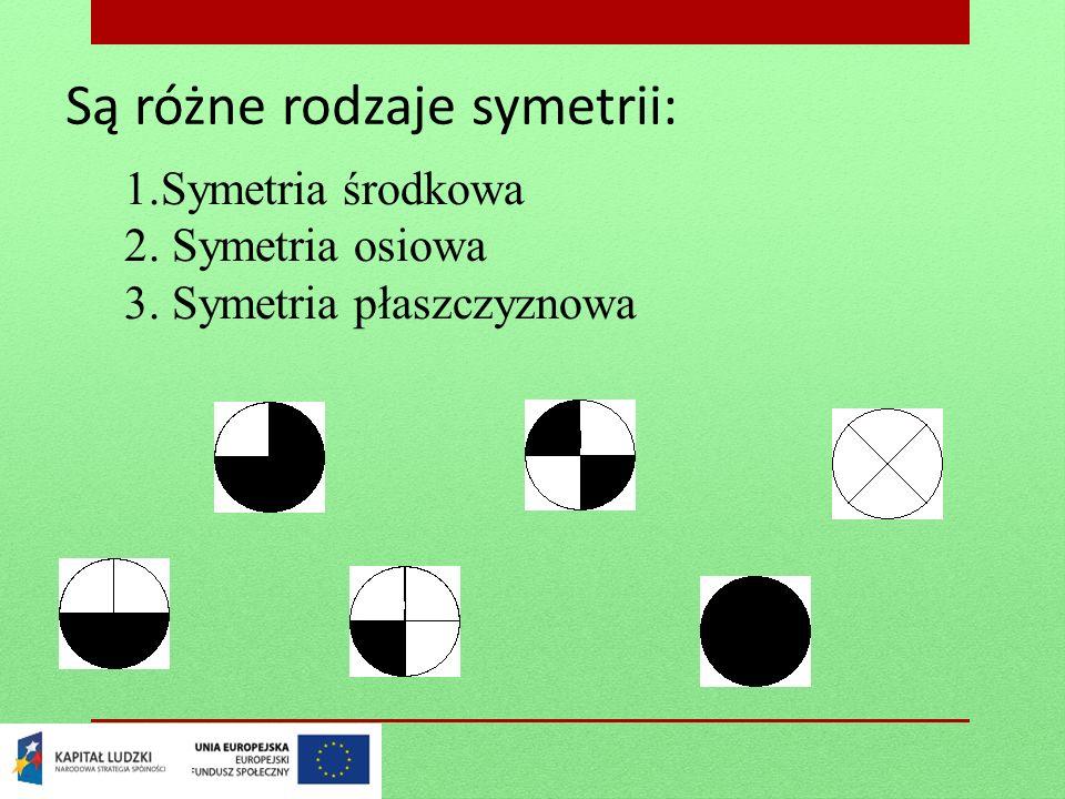 Są różne rodzaje symetrii: 1.Symetria środkowa 2. Symetria osiowa 3. Symetria płaszczyznowa