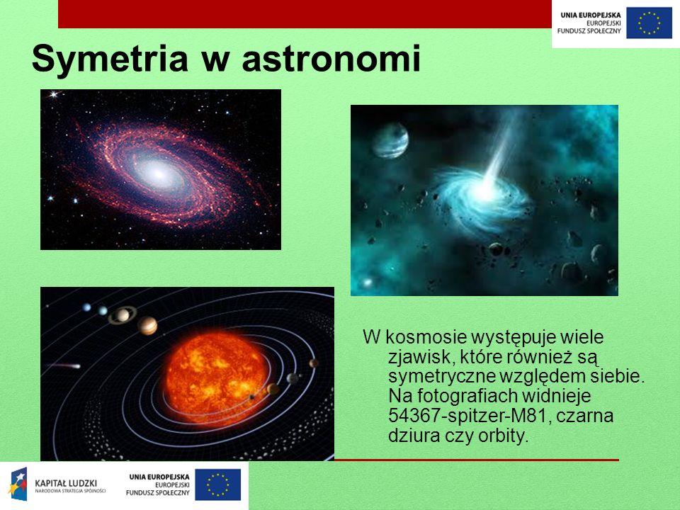 Symetria w astronomi W kosmosie występuje wiele zjawisk, które również są symetryczne względem siebie. Na fotografiach widnieje 54367-spitzer-M81, cza