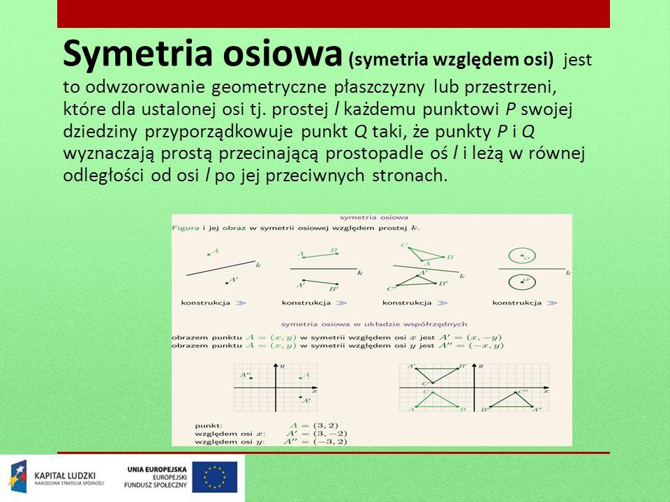 Symetria osiowa (symetria względem osi) jest to odwzorowanie geometryczne płaszczyzny lub przestrzeni, które dla ustalonej osi tj. prostej l każdemu p