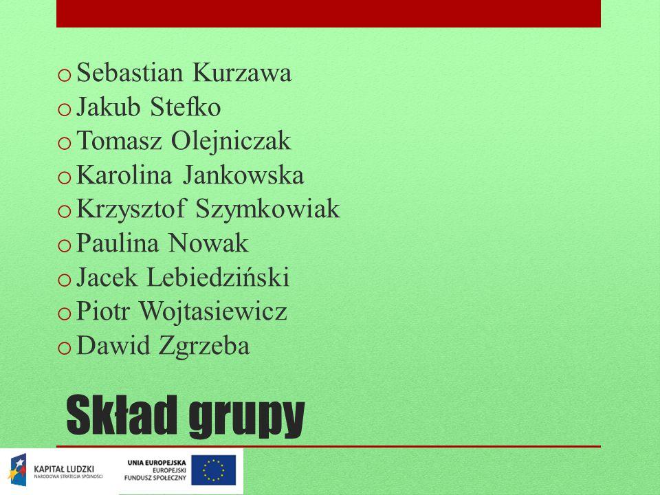 Skład grupy o Sebastian Kurzawa o Jakub Stefko o Tomasz Olejniczak o Karolina Jankowska o Krzysztof Szymkowiak o Paulina Nowak o Jacek Lebiedziński o