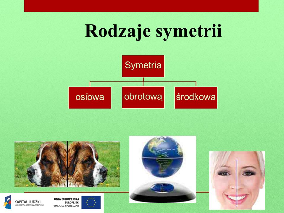 Symetria osiowa To taka symetria gdzie: gdy przeprowadzimy oś symetrii i w ten sposób podzielimy przedmiot na dwie części to jedna strona będzie przystawała drugiej, czyli gdy złożymy ją na pół to oba elementy się pokryją.