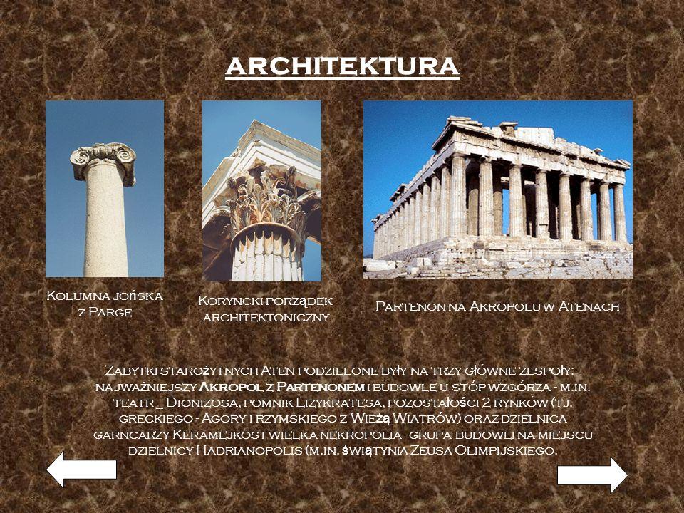 architektura Kolumna jo ń ska z Parge Koryncki porz ą dek architektoniczny Partenon na Akropolu w Atenach Zabytki staro ż ytnych Aten podzielone by ł