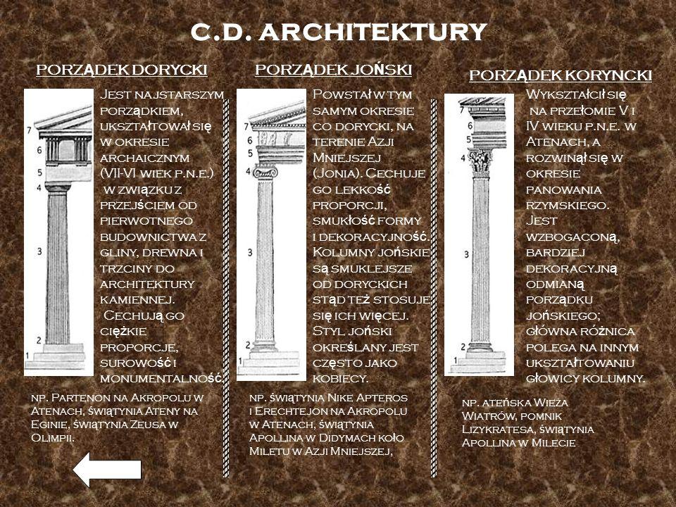 c.d. architektury PORZ Ą DEK DORYCKI Jest najstarszym porz ą dkiem, ukszta ł towa ł si ę w okresie archaicznym (VII-VI wiek p.n.e.) w zwi ą zku z prze