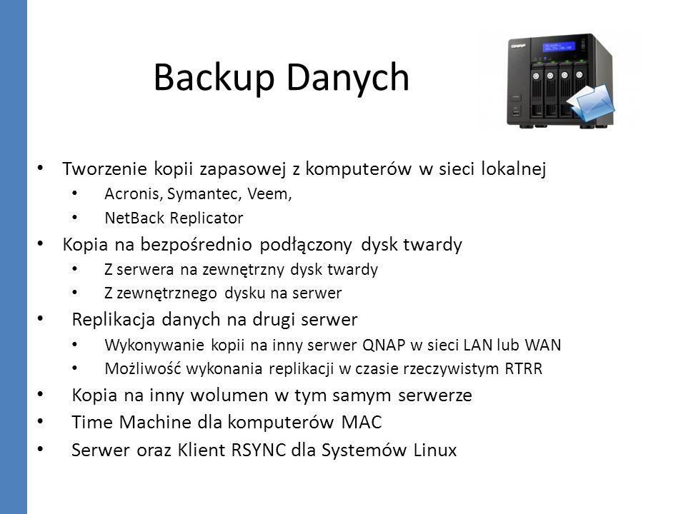 Backup Danych Tworzenie kopii zapasowej z komputerów w sieci lokalnej Acronis, Symantec, Veem, NetBack Replicator Kopia na bezpośrednio podłączony dys