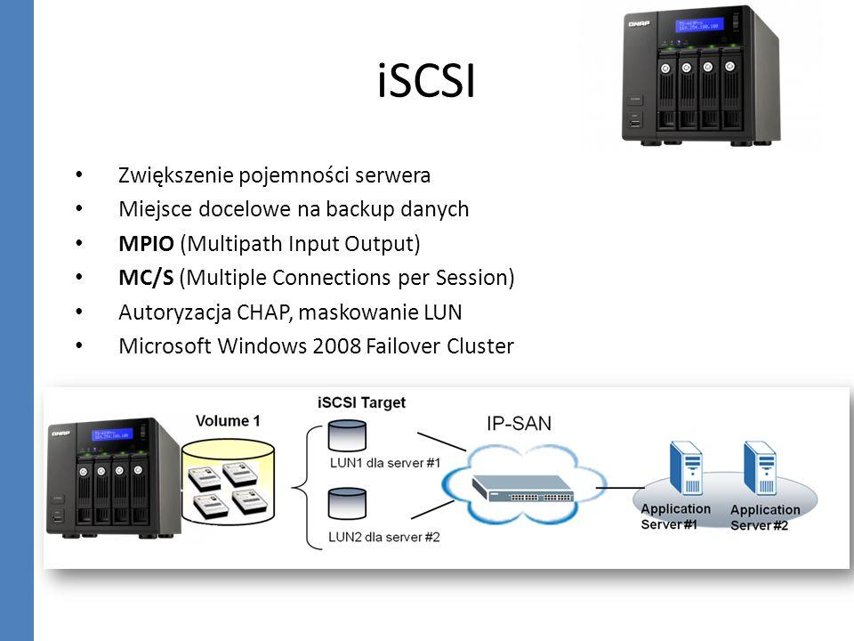 iSCSI Zwiększenie pojemności serwera Miejsce docelowe na backup danych MPIO (Multipath Input Output) MC/S (Multiple Connections per Session) Autoryzac