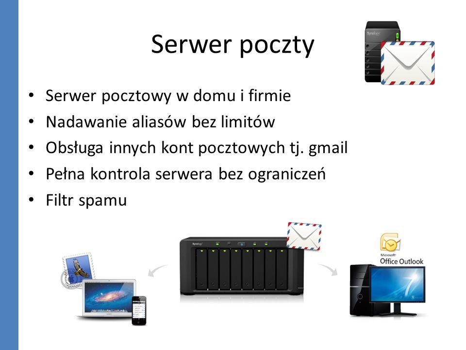 Serwer poczty Serwer pocztowy w domu i firmie Nadawanie aliasów bez limitów Obsługa innych kont pocztowych tj. gmail Pełna kontrola serwera bez ograni