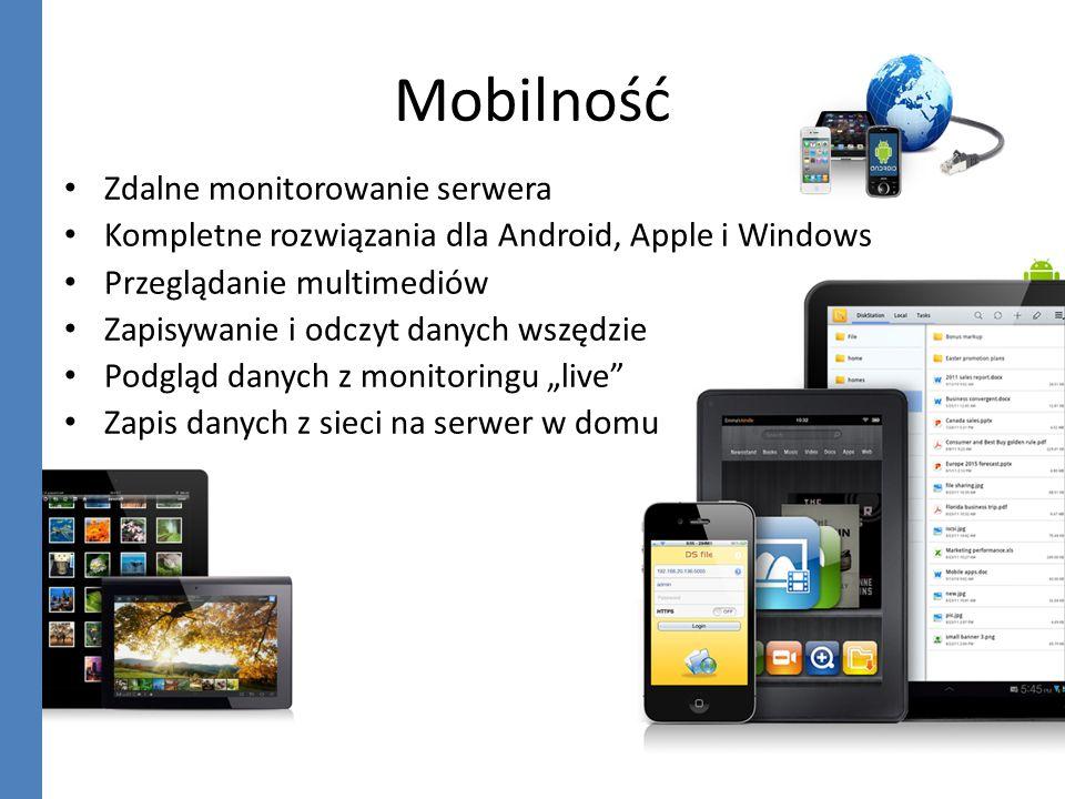 Mobilność Zdalne monitorowanie serwera Kompletne rozwiązania dla Android, Apple i Windows Przeglądanie multimediów Zapisywanie i odczyt danych wszędzi