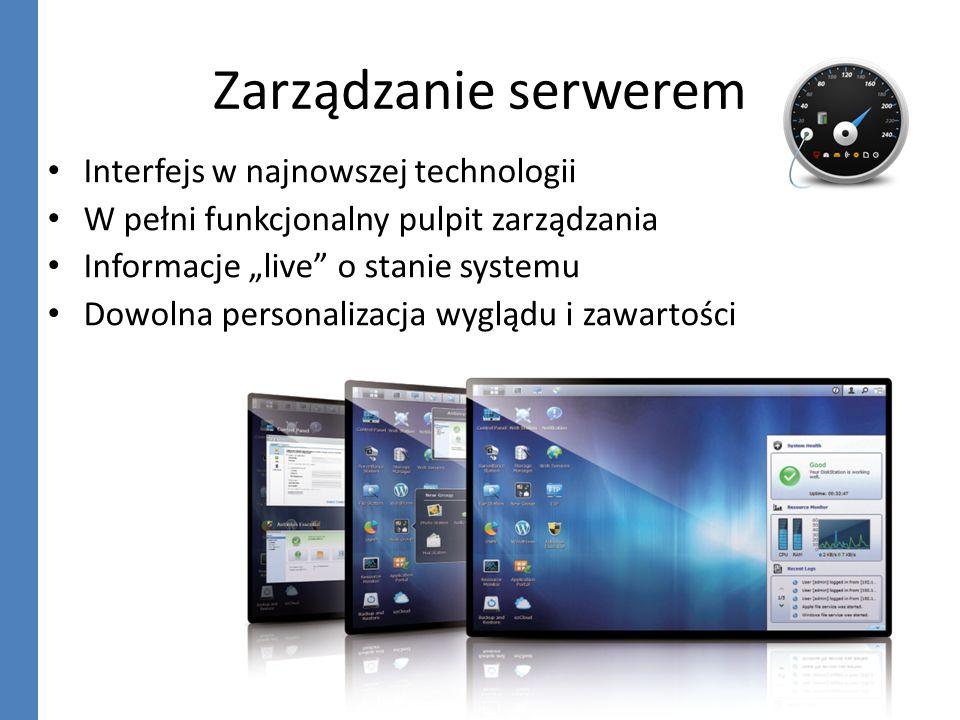 Zarządzanie serwerem Interfejs w najnowszej technologii W pełni funkcjonalny pulpit zarządzania Informacje live o stanie systemu Dowolna personalizacj