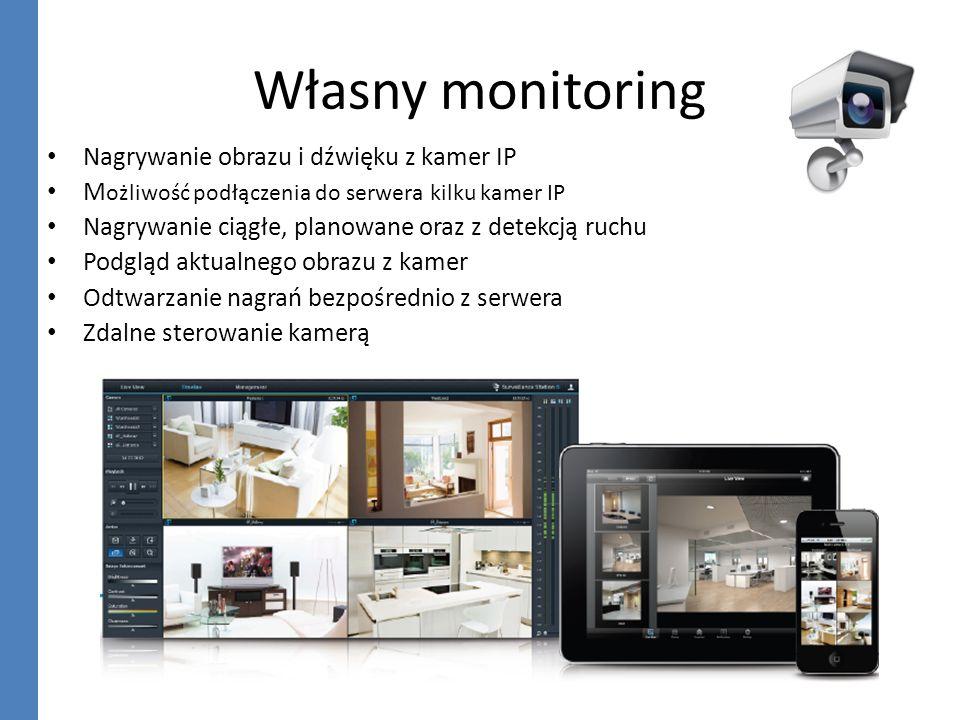 Własny monitoring Nagrywanie obrazu i dźwięku z kamer IP M ożliwość podłączenia do serwera kilku kamer IP Nagrywanie ciągłe, planowane oraz z detekcją