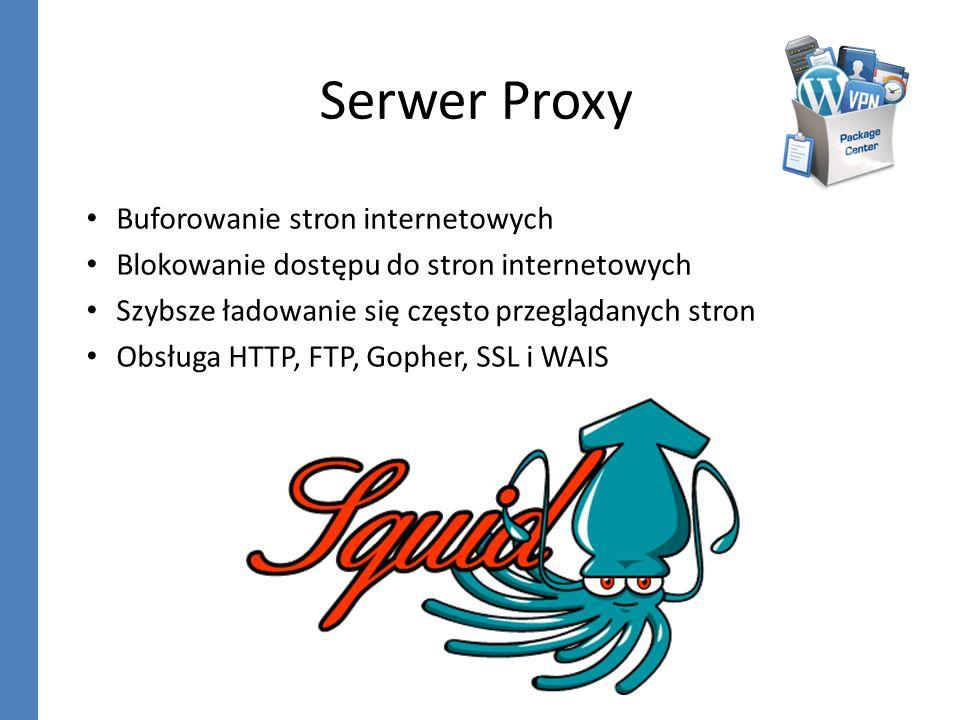 Serwer Proxy Buforowanie stron internetowych Blokowanie dostępu do stron internetowych Szybsze ładowanie się często przeglądanych stron Obsługa HTTP,