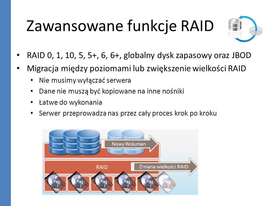 Zawansowane funkcje RAID RAID 0, 1, 10, 5, 5+, 6, 6+, globalny dysk zapasowy oraz JBOD Migracja między poziomami lub zwiększenie wielkości RAID Nie mu