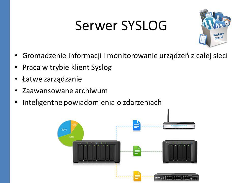 Serwer SYSLOG Gromadzenie informacji i monitorowanie urządzeń z całej sieci Praca w trybie klient Syslog Łatwe zarządzanie Zaawansowane archiwum Intel