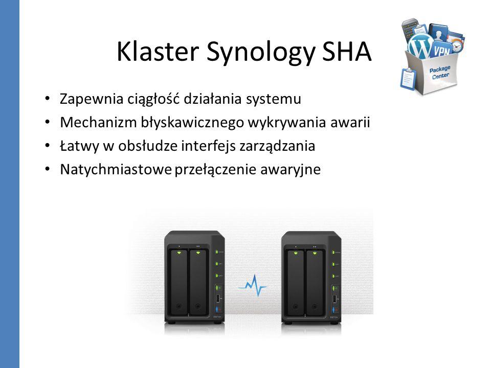 Klaster Synology SHA Zapewnia ciągłość działania systemu Mechanizm błyskawicznego wykrywania awarii Łatwy w obsłudze interfejs zarządzania Natychmiast