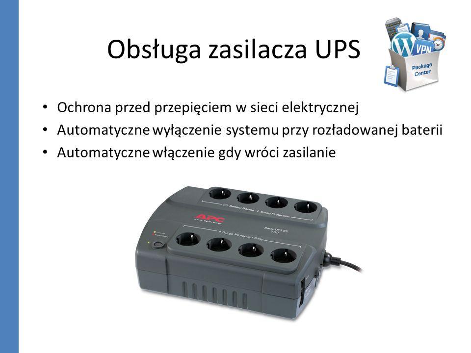 Obsługa zasilacza UPS Ochrona przed przepięciem w sieci elektrycznej Automatyczne wyłączenie systemu przy rozładowanej baterii Automatyczne włączenie