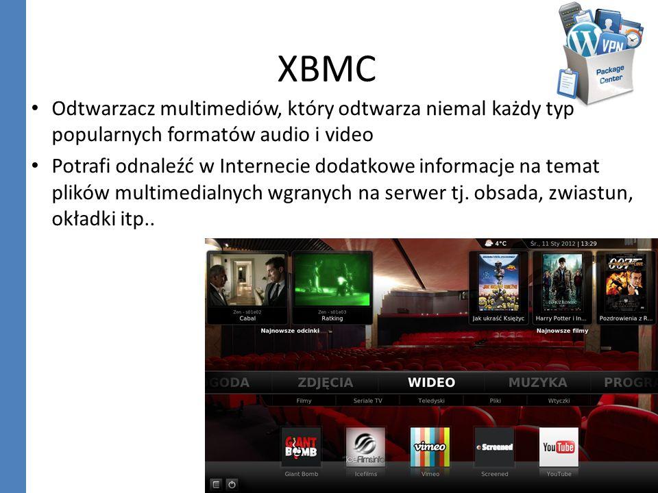 XBMC Odtwarzacz multimediów, który odtwarza niemal każdy typ popularnych formatów audio i video Potrafi odnaleźć w Internecie dodatkowe informacje na