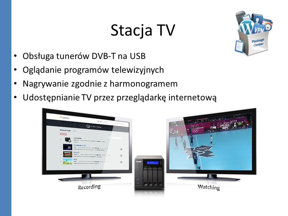 Stacja TV Obsługa tunerów DVB-T na USB Oglądanie programów telewizyjnych Nagrywanie zgodnie z harmonogramem Udostępnianie TV przez przeglądarkę intern