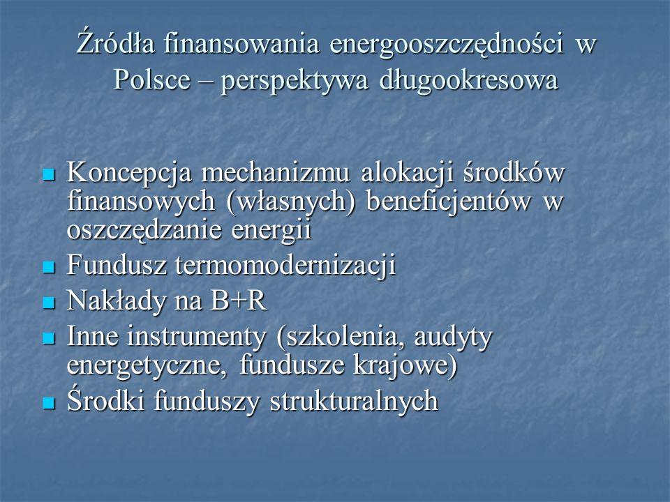 Źródła finansowania energooszczędności w Polsce – perspektywa długookresowa Koncepcja mechanizmu alokacji środków finansowych (własnych) beneficjentów w oszczędzanie energii Koncepcja mechanizmu alokacji środków finansowych (własnych) beneficjentów w oszczędzanie energii Fundusz termomodernizacji Fundusz termomodernizacji Nakłady na B+R Nakłady na B+R Inne instrumenty (szkolenia, audyty energetyczne, fundusze krajowe) Inne instrumenty (szkolenia, audyty energetyczne, fundusze krajowe) Środki funduszy strukturalnych Środki funduszy strukturalnych