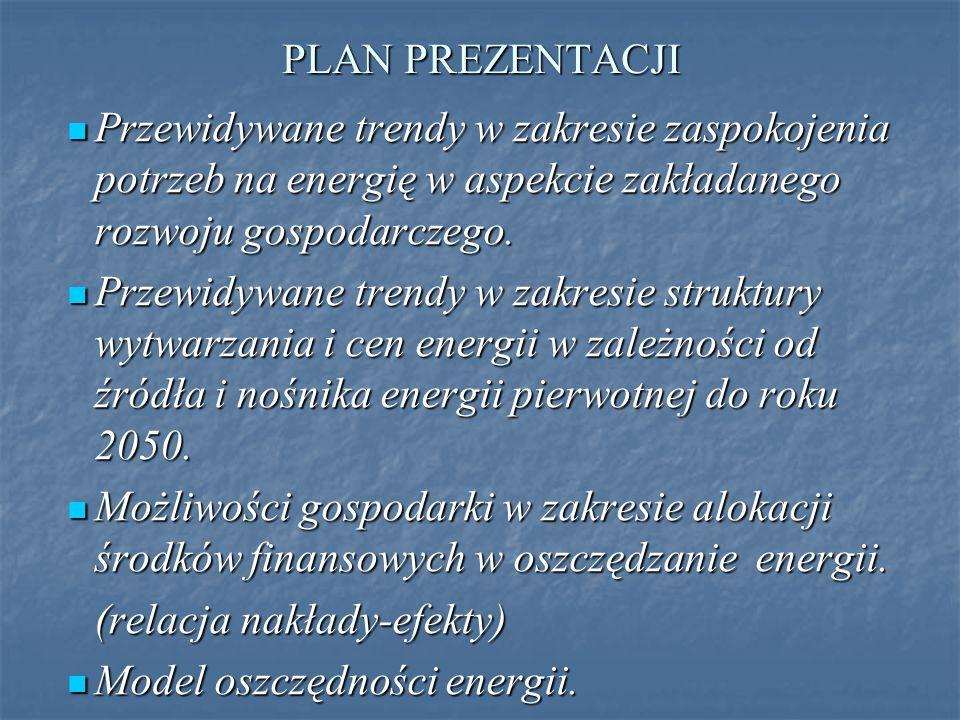 PLAN PREZENTACJI Przewidywane trendy w zakresie zaspokojenia potrzeb na energię w aspekcie zakładanego rozwoju gospodarczego.