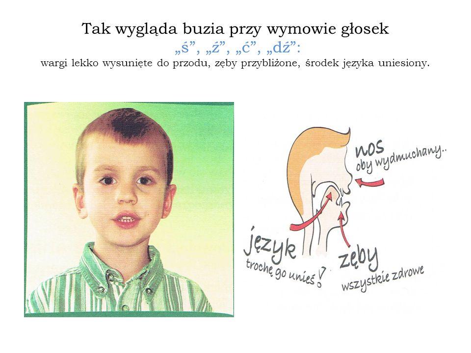 Tak wygląda buzia przy wymowie głosek ś, ź, ć, dź: wargi lekko wysunięte do przodu, zęby przybliżone, środek języka uniesiony.