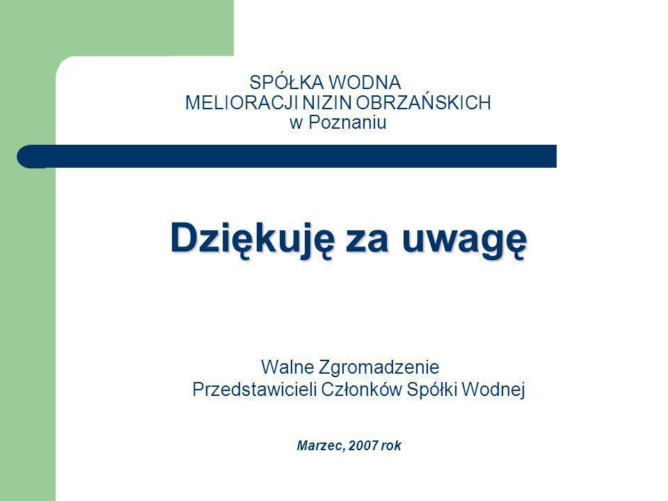 Dziękuję za uwagę SPÓŁKA WODNA MELIORACJI NIZIN OBRZAŃSKICH w Poznaniu Dziękuję za uwagę Walne Zgromadzenie Przedstawicieli Członków Spółki Wodnej Marzec, 2007 rok