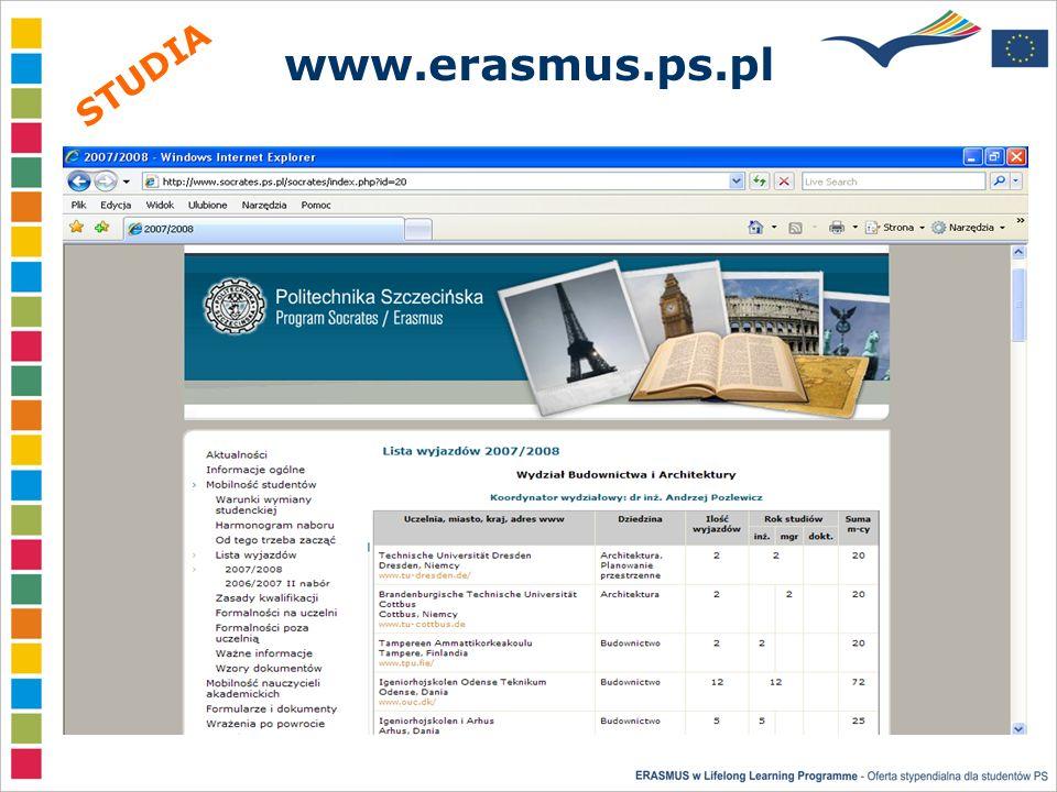 www.erasmus.ps.pl STUDIA