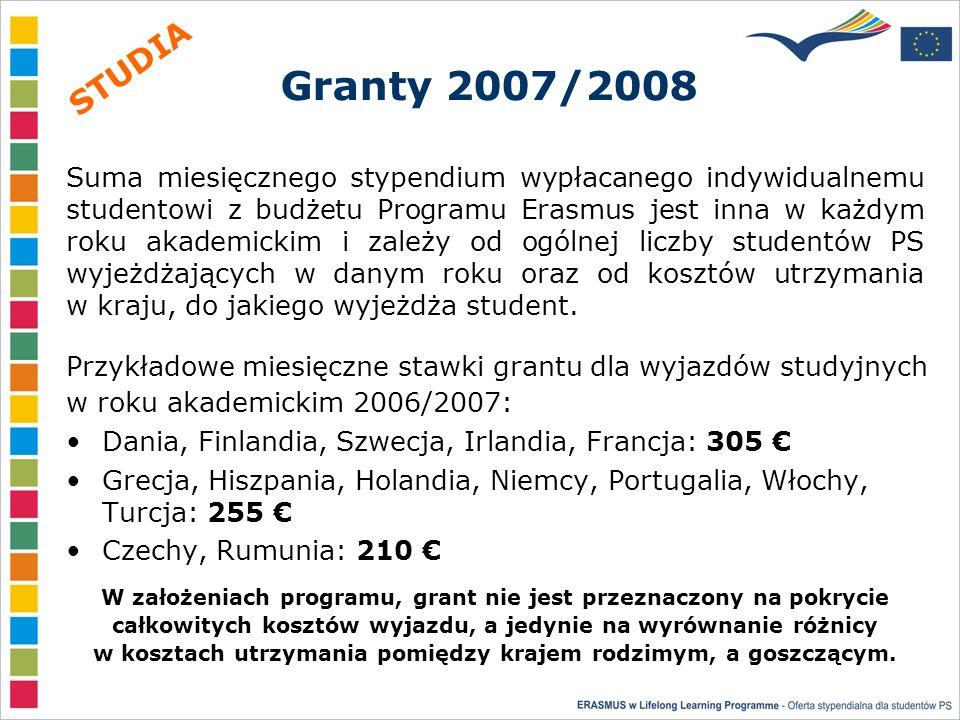 Granty 2007/2008 Dania, Finlandia, Szwecja, Irlandia, Francja: 305 Grecja, Hiszpania, Holandia, Niemcy, Portugalia, Włochy, Turcja: 255 Czechy, Rumunia: 210 Suma miesięcznego stypendium wypłacanego indywidualnemu studentowi z budżetu Programu Erasmus jest inna w każdym roku akademickim i zależy od ogólnej liczby studentów PS wyjeżdżających w danym roku oraz od kosztów utrzymania w kraju, do jakiego wyjeżdża student.