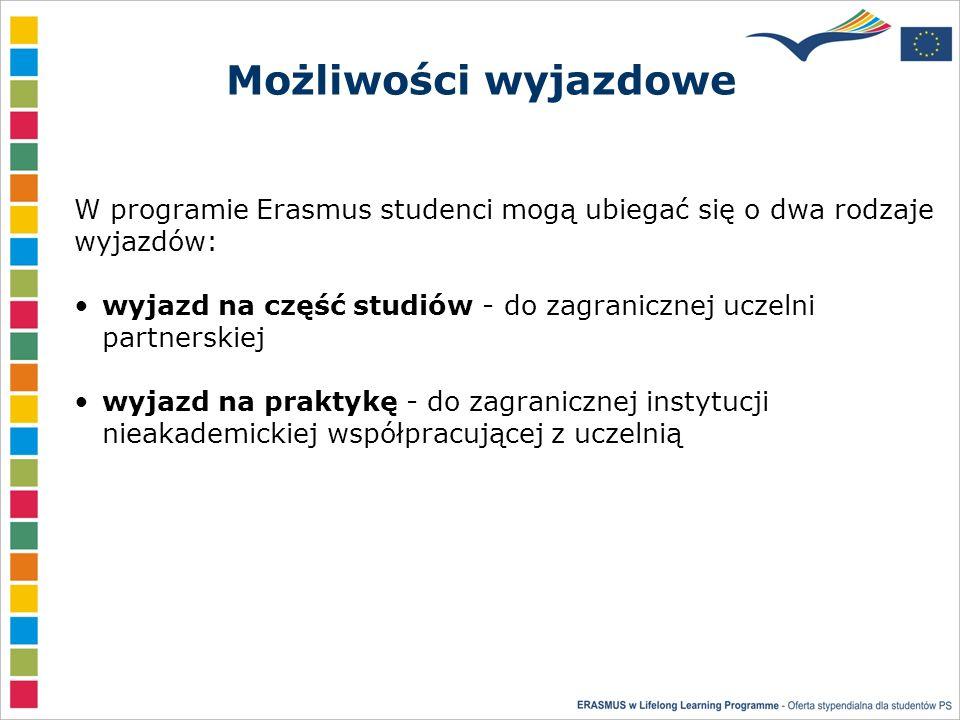 Możliwości wyjazdowe W programie Erasmus studenci mogą ubiegać się o dwa rodzaje wyjazdów: wyjazd na część studiów - do zagranicznej uczelni partnerskiej wyjazd na praktykę - do zagranicznej instytucji nieakademickiej współpracującej z uczelnią