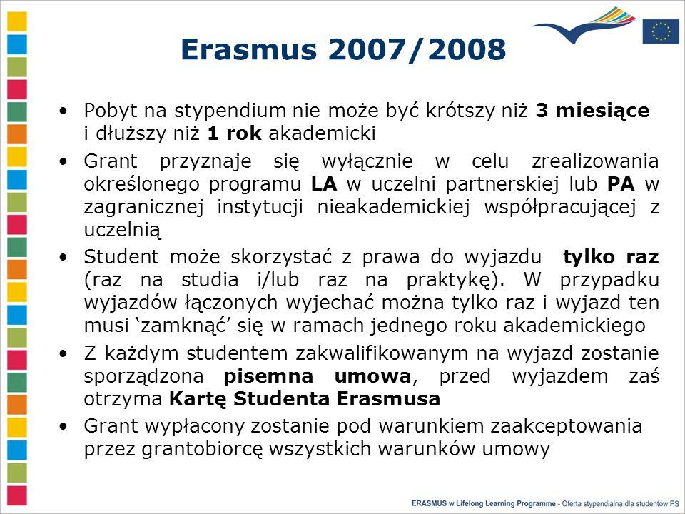 Erasmus 2007/2008 Pobyt na stypendium nie może być krótszy niż 3 miesiące i dłuższy niż 1 rok akademicki Grant przyznaje się wyłącznie w celu zrealizowania określonego programu LA w uczelni partnerskiej lub PA w zagranicznej instytucji nieakademickiej współpracującej z uczelnią Student może skorzystać z prawa do wyjazdu tylko raz (raz na studia i/lub raz na praktykę).