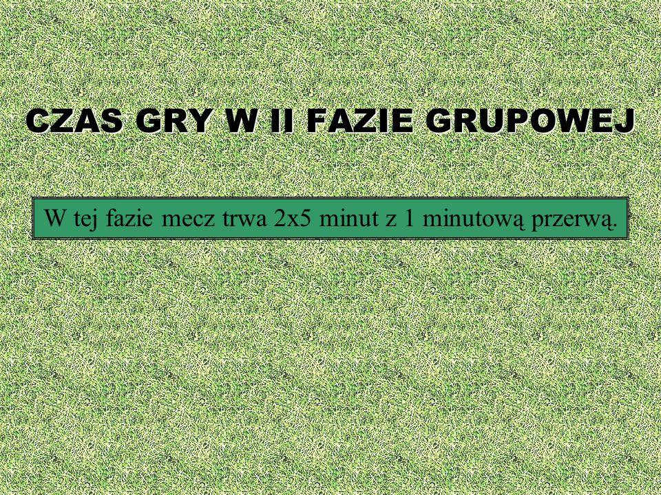 CZAS GRY W II FAZIE GRUPOWEJ W tej fazie mecz trwa 2x5 minut z 1 minutową przerwą.