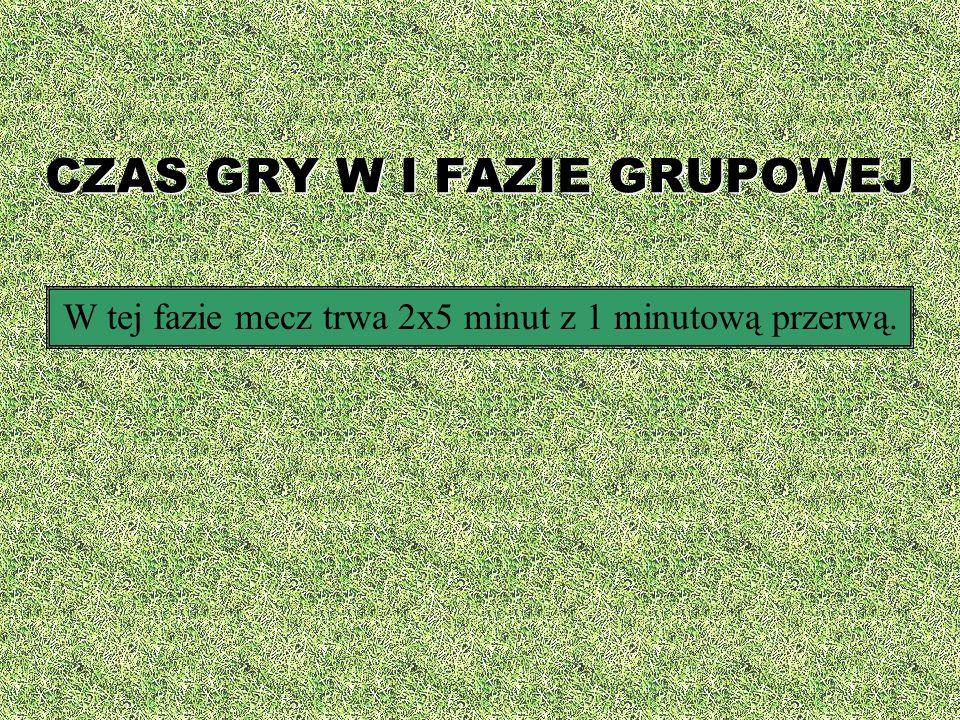 CZAS GRY W I FAZIE GRUPOWEJ W tej fazie mecz trwa 2x5 minut z 1 minutową przerwą.