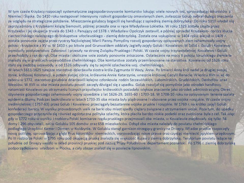 W tym czasie Krzyżacy rozpoczęli systematyczne zagospodarowywanie komturstw lokując wiele nowych wsi, sprowadzając kolonistów z Niemiec i Śląska. Do 1