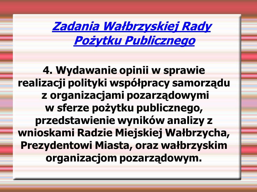 Zadania Wałbrzyskiej Rady Pożytku Publicznego 4.