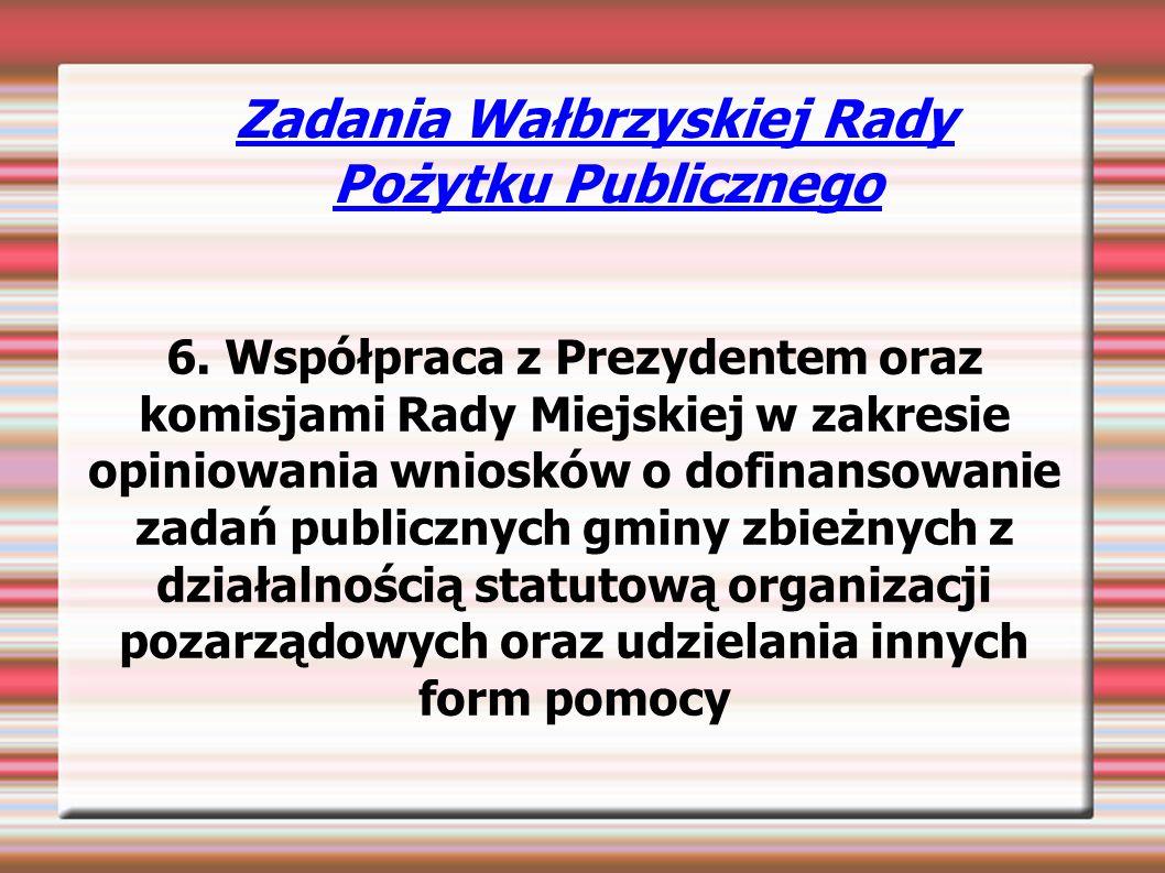 Zadania Wałbrzyskiej Rady Pożytku Publicznego 6.