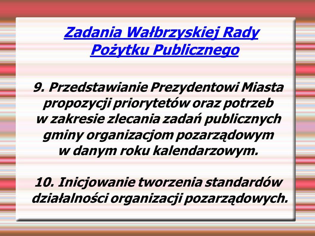 Zadania Wałbrzyskiej Rady Pożytku Publicznego 9.