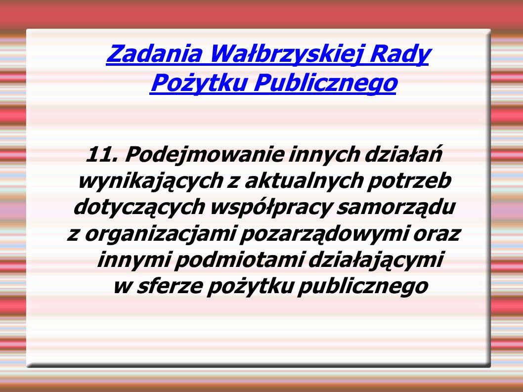 Zadania Wałbrzyskiej Rady Pożytku Publicznego 11.