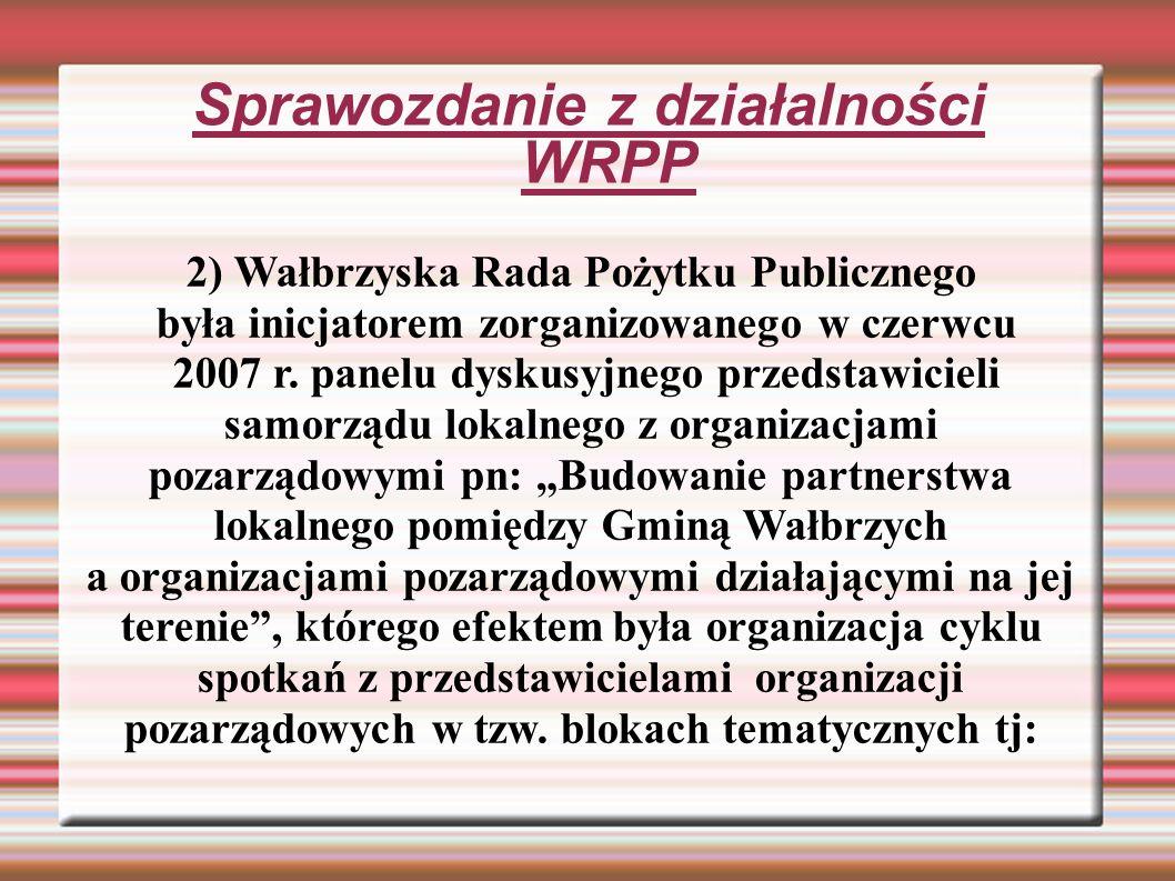 Sprawozdanie z działalności WRPP 2) Wałbrzyska Rada Pożytku Publicznego była inicjatorem zorganizowanego w czerwcu 2007 r.